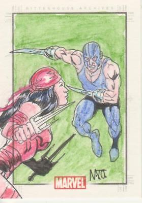 Marvel Heroes and Villains Color Sketch Card by Nonato - Elektra + 1