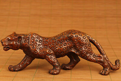 Antique Chinese Old Boxwood Hand-Carved Leopard Statue Netsuke Collectable