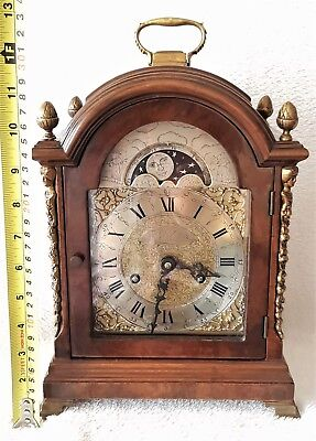 Warmink Mantel Clock 33cm Dutch Wubba Vintage Moon Dial Bell Strike Rare
