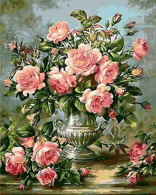 """VASE AND PINK FLOWERS PAINTING PAINT BY NUMBERS CANVAS KIT 20"""" x 16"""" FRAMELESS"""