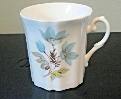 Royal Grafton 8 oz Coffee Mug Blue Floral Motif on White  England