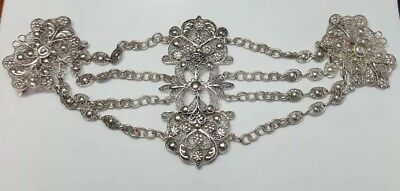Rare Antique Victorian Sterling Silver Hand Made Filagree Guard Chain