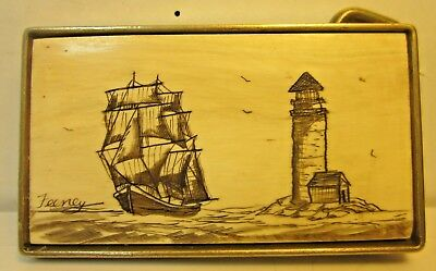Vintage ~ BTS - Brass Belt Buckle - Beautiful Scrimshaw Scene - Signed by Feeney