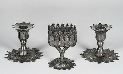Antique Chinese Export Silver Candlesticks & Vase - Circa 1900 - Signed