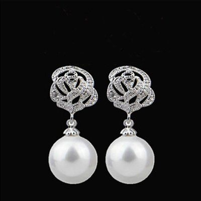 Luxury Crystal Pearl Rose Eardrop Drop Dangle Earrings Wedding Womens Jewelry