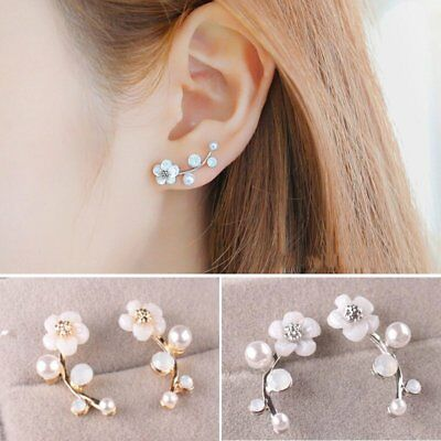 1 Pair Fashion Pearl Flower Ear Stud Earrings Elegant Women Jewelry Gift Party