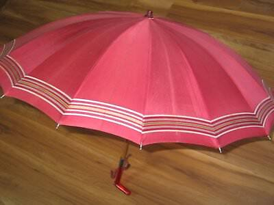 Classic 1950s-1960s Vintage mid century umbrella silky red canopy-Lucite Handle