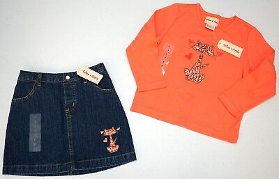 NWT LOT OF 2 ITEMS Toffee Apple Girls 5 Blue Pink LS Shirt Skirt Cat Outfit NEW