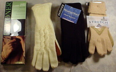 ISOTONER Lot of 4 Ladies Gloves  One Size Leather and Knit NWT NWB