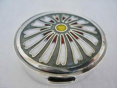 Superb Top Quality Sterling Silver & Enamel Oval Pill Box London 1980.