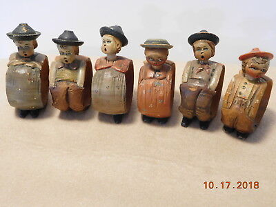6 Vintage Hand Carved Wood Nodder Napkin Holders