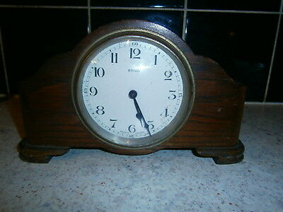 ANTIQUE ART DECO 8 Days  WOODEN MANTEL CLOCK  Made in France 1938