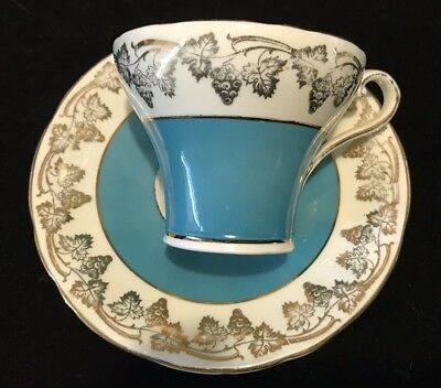 Aynsley Blue And Gold Bone China Teacup And Saucer