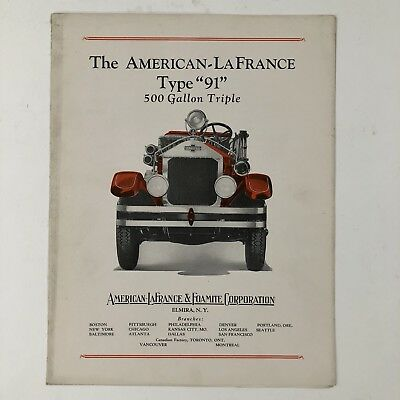 Vintage American LaFrance The 91 Fire Apparatus Truck Advertisement Brochure