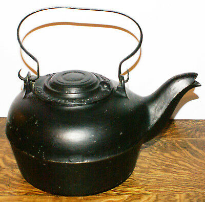 Antique Water Kettle J SAVERY'S SON & CO Primitive Cast Iron #7 Kettle * NY1866