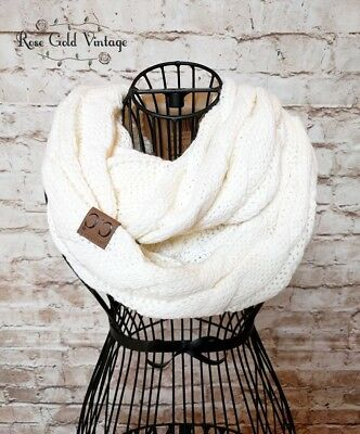 NWT Boutique CC Cable Knit Infinity Scarf - Ivory