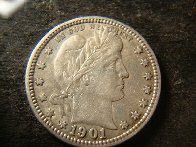 1901  XF AU Barber Liberty Quarter  Very Nice as To Type JMX