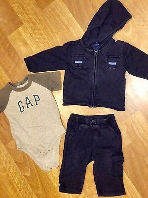Gap Boys 6-12 Months Outfit Long Sleeve Hooded Jacket Logo Onepiece Pants Blue