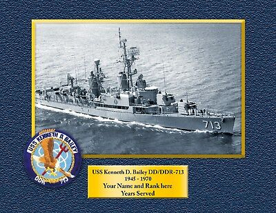 USS KENNETH D BAILEY DD713 Custom Personalized Print of US Navy Gift Idea