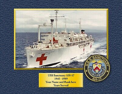 USS SANCTUARY AH17 Custom Personalized Print of US Navy Gift Idea