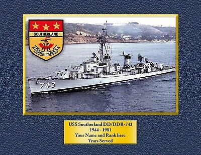 USS SOUTHERLAND DD743 Custom Personalized Print of US Navy Gift Idea