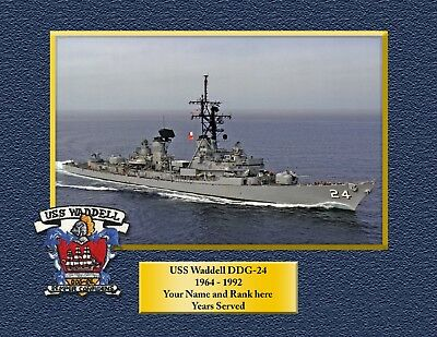 USS WADDELL DDG24 Custom Personalized Print of US Navy Gift Idea