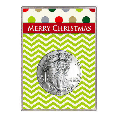 2001 $1 American Silver Eagle Gift Holder – Merry Christmas Design