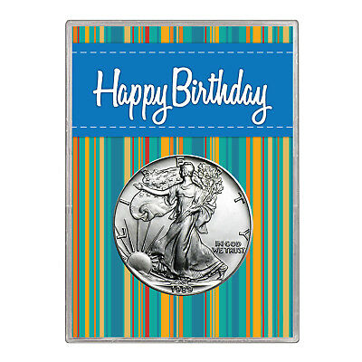 1989 $1 American Silver Eagle Gift Holder – Happy Birthday Blue Design