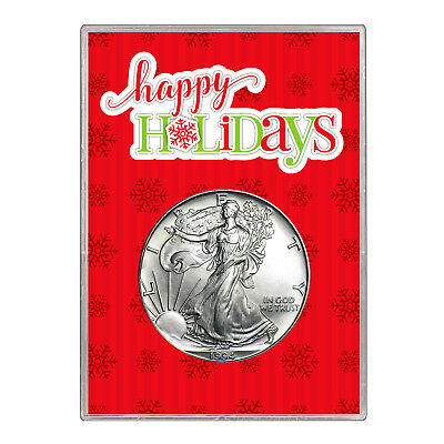 1994 $1 American Silver Eagle Gift Holder – Happy Holidays Design