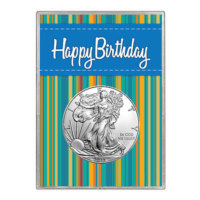 2014 $1 American Silver Eagle Gift Holder – Happy Birthday Blue Design