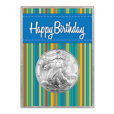 2005 $1 American Silver Eagle Gift Holder – Happy Birthday Blue Design