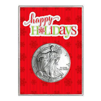 2001 $1 American Silver Eagle Gift Holder – Happy Holidays Design