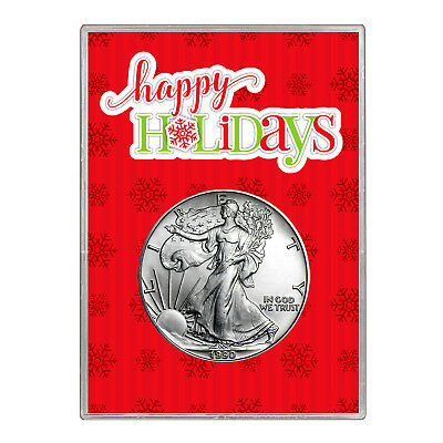 1990 $1 American Silver Eagle Gift Holder – Happy Holidays Design