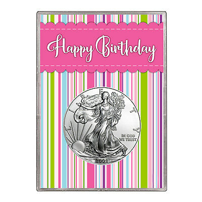 2002 $1 American Silver Eagle Gift Holder – Happy Birthday Pink Design