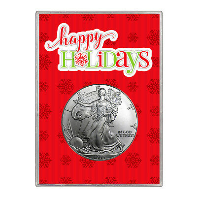 1999 $1 American Silver Eagle Gift Holder – Happy Holidays Design