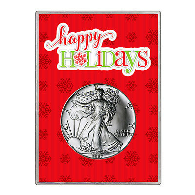 1987 $1 American Silver Eagle Gift Holder – Happy Holidays Design