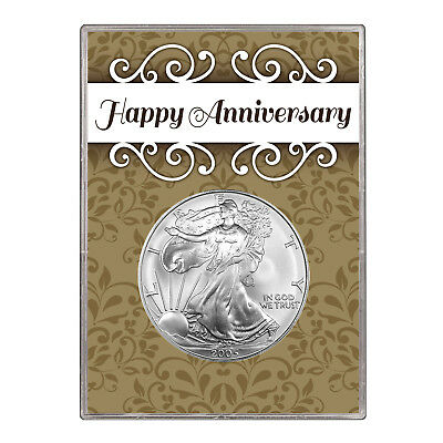 2005 $1 American Silver Eagle Gift Holder –  Happy Anniversary Design