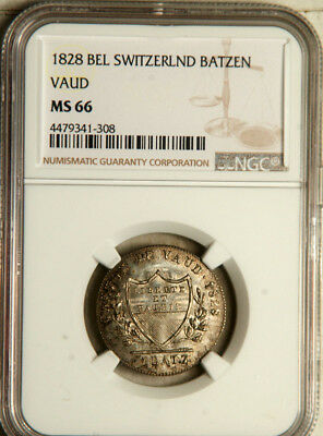 Ngc Ms-66 Vaud (Switzerland) Silver 1 Batzen 1828 (Highest Graded!) Pop: 1/0