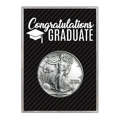 1990 $1 American Silver Eagle Gift Holder –  Graduation Design