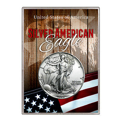 1989 $1 American Silver Eagle Gift Holder –  Flag and Eagle Design