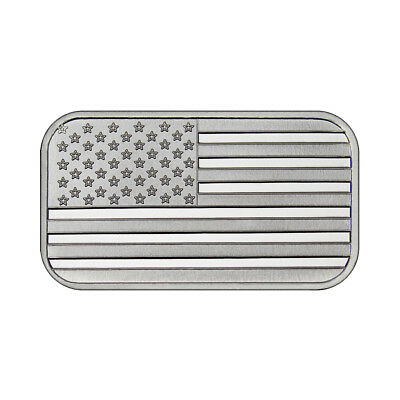One Ounce Silvertowne Mint .999 Silver American Flag Bar
