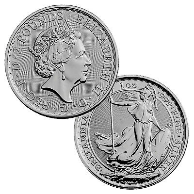 2018 1 Ounce UK .999 Silver Britannia 2 Pounds
