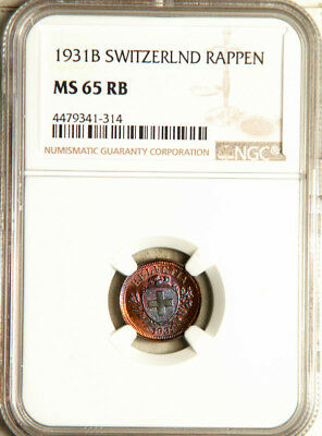 Ngc Ms-65 Red-Bn Switzerland 1 Rappen 1931