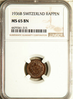 Ngc Ms-65 Switzerland 1 Rappen 1936 (Only 1 Graded Higher) Pop: 1/1