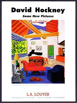 "1989 David Hockney ""Room with Two Dogs"" Painting Venice, CA Art Gallery print ad"