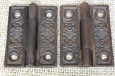 "2 interior shutter Hinges door 1880's vintage old Windsor 2 x 1 1/2"" rustic iron"