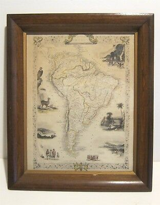 1851 Map of South America John Tallis & Co. Marchant and Rodgers Framed