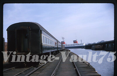Orig Slide El Erie Lackawanna Hoboken Nj Ss United States Ship Kodachrome 1964