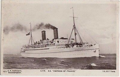 C.P.R. Empress of France Shipping Real Photo Postcard, US001
