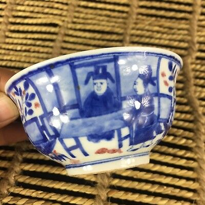 Collectible Antique Chinese Old Porcelain Rare Handwork figure usable tea Bowl